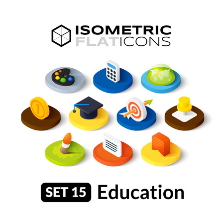 Isometric flat icons, 3D pictograms vector set 15 - Education symbol collection
