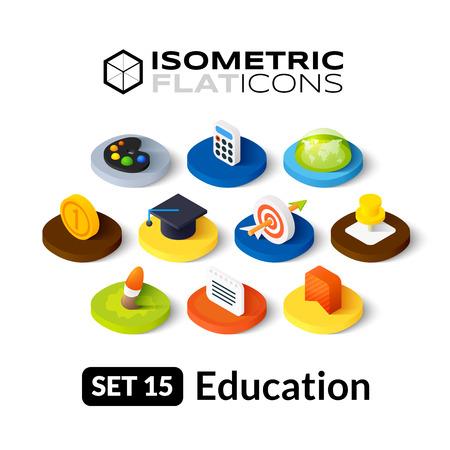 Isometrisch vlakke pictogrammen, 3D-pictogrammen vector set 15 - Onderwijs symbool collectie