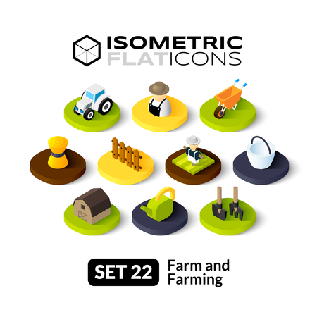 Isometric flat icons, 3D pictograms vector set 22 - Farm and farming symbol collection
