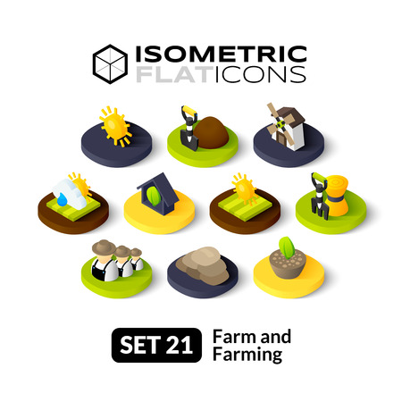Isometric flat icons, 3D pictograms vector set 21 - Farm and farming symbol collection