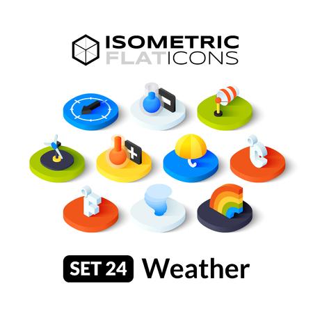 estado del tiempo: Iconos planos isom�tricos, pictogramas 3D conjunto de vectores 24 - Tiempo colecci�n de s�mbolos