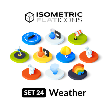 thaw: Isometric flat icons, 3D pictograms vector set 24 - Weather symbol collection Illustration