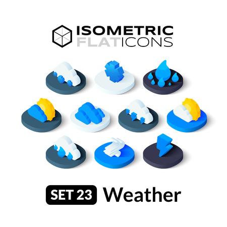 estado del tiempo: Iconos planos isom�tricos, pictogramas 3D conjunto de vectores 23 - Tiempo colecci�n de s�mbolos