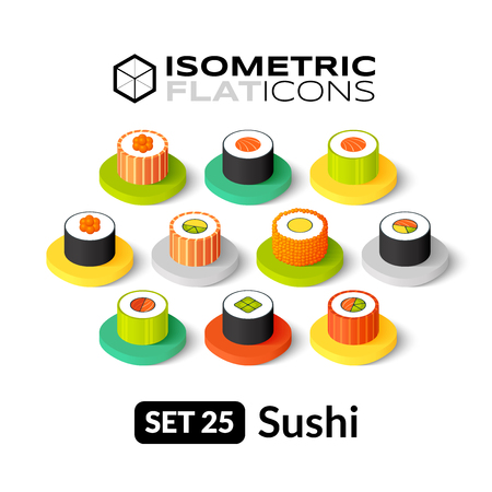 Isometric flat icons, 3D pictograms vector set 25 - Sushi symbol collection Vettoriali