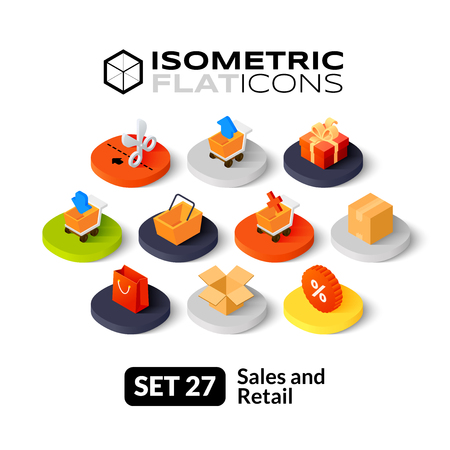 Isometrisch vlakke pictogrammen, 3D-pictogrammen vector set 27 - Sales en detailhandel symbool collectie
