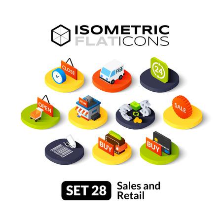 Isométriques icônes plates, des pictogrammes 3D vector set 28 - Ventes et symbole de détail collection Illustration