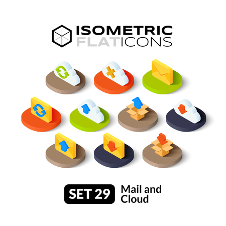 Isometric flat icons, 3D pictograms vector set 29 - Mail and cloud symbol collection Vettoriali