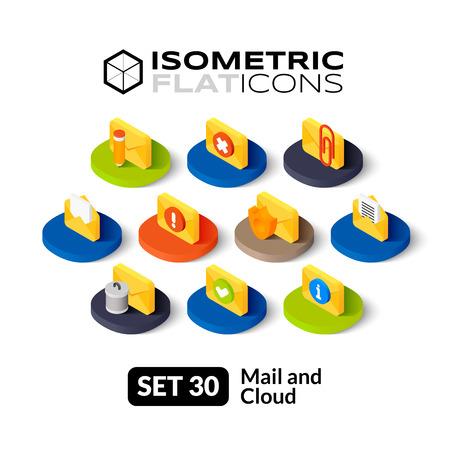 Isometrisch vlakke pictogrammen, 3D-pictogrammen vector set 30 - E-mail en cloud symbool collectie