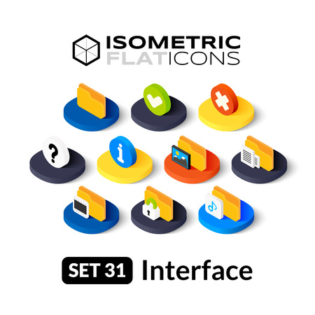 Isometric flat icons, 3D pictograms vector set 31 - Interface symbol collection Illustration