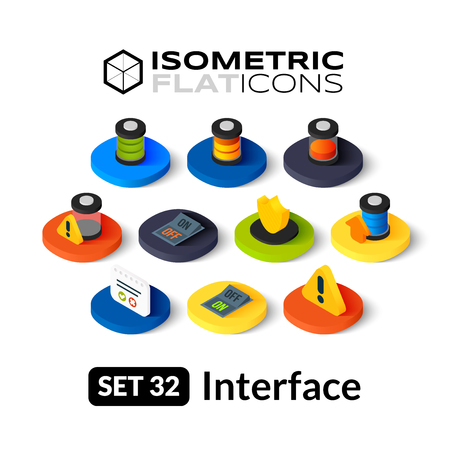 Isometric flat icons, 3D pictograms vector set 32 - Interface symbol collection