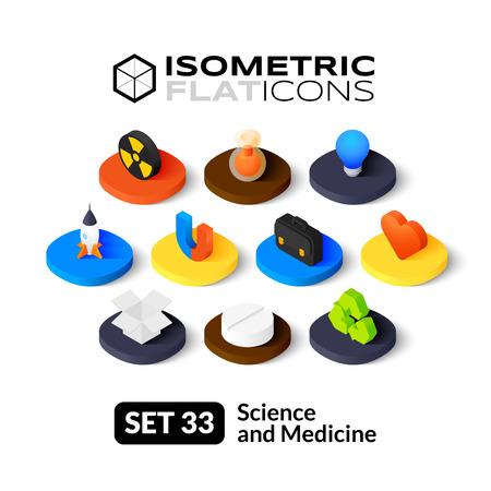 Isometrisch vlakke pictogrammen, 3D-pictogrammen vector set 33 - Wetenschap en geneeskunde symbool collectie