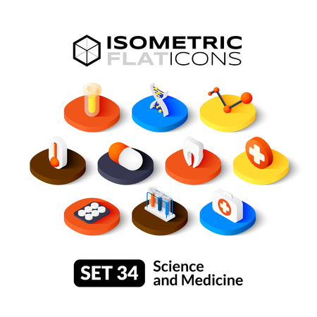 Isometric flat icons, 3D pictograms vector set 34 - Science and medicine symbol collection