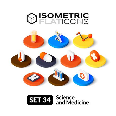 Isometrisch vlakke pictogrammen, 3D-pictogrammen vector set 34 - Wetenschap en geneeskunde symbool collectie
