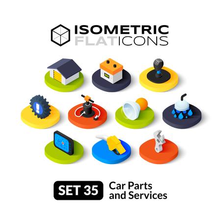 repuestos de carros: Iconos planos isom�tricos, pictogramas 3D conjunto de vectores 35 - piezas y servicios de coches colecci�n de s�mbolos