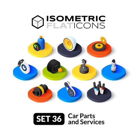 piezas coche: iconos planos isom�tricos, 3D pictogramas conjunto de vectores 36 - piezas y servicios de coches colecci�n de s�mbolos
