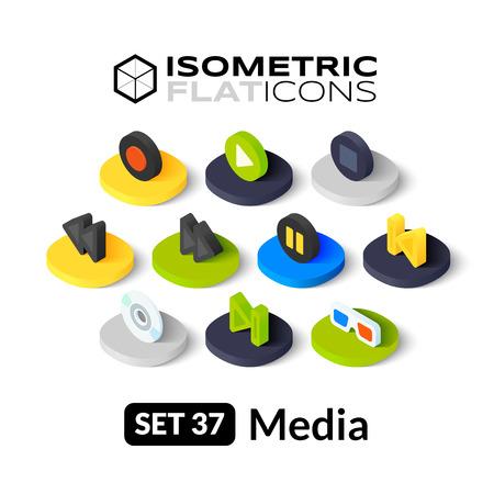 미디어 기호 컬렉션 - 등각 투영 평면 아이콘, 3D는 그림 문자 벡터 (37)을 설정