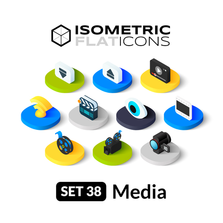 Isometric flat icons, 3D pictograms vector set 38 - Media symbol collection