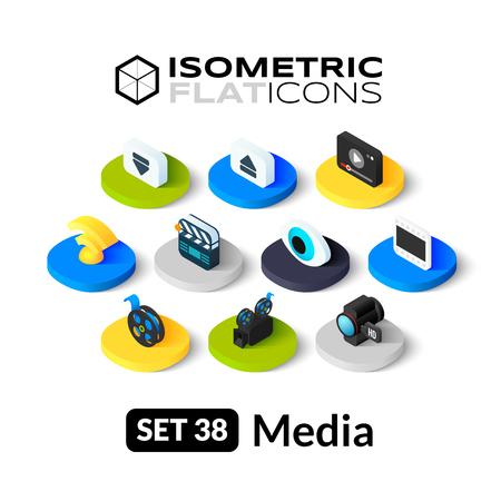 Isometrisch vlakke pictogrammen, 3D-pictogrammen vector set 38 - Media symbool collectie Stock Illustratie