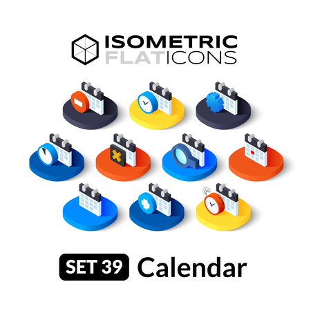 agenda: Isometric flat icons, 3D pictograms vector set 39 - Calendar symbol collection