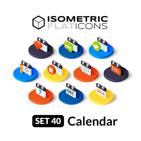 Isometric flat icons, 3D pictograms vector set 40 - Calendar symbol collection