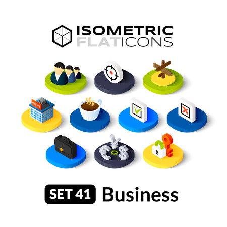 human resources strategy: Isometric flat icons, 3D pictograms vector set 41 - Business symbol collection