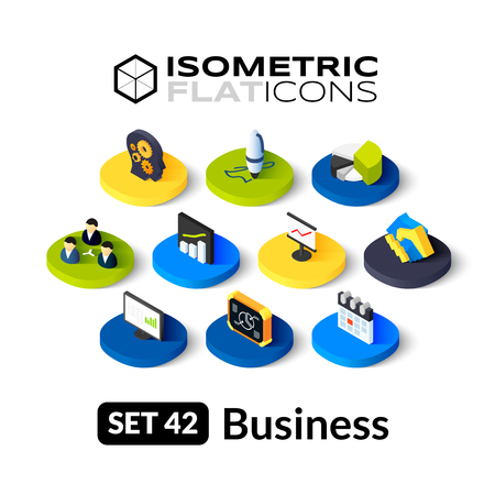 analytics: Isometric flat icons, 3D pictograms vector set 42 - Business symbol collection Illustration