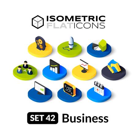 Isometrisch vlakke pictogrammen, 3D-pictogrammen vector set 42 - Zaken symbool collectie Stock Illustratie