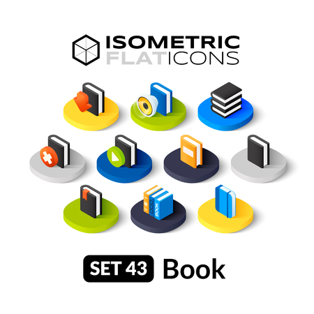 telephone book: Isometric flat icons, 3D pictograms vector set 43 - Book symbol collection