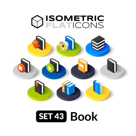 Isometrisch vlakke pictogrammen, 3D-pictogrammen vector set 43 - Book symbool collectie