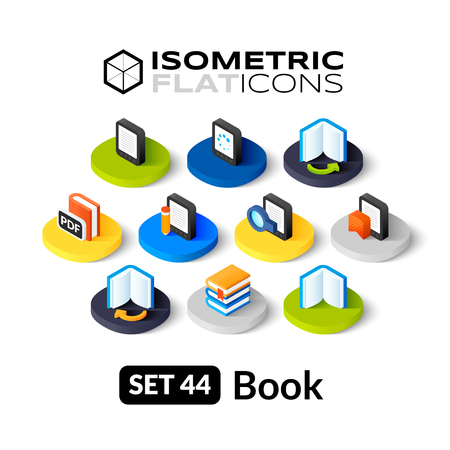 Isometric flat icons, 3D pictograms vector set 44 - Book symbol collection Vettoriali