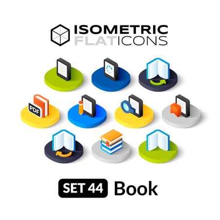 Isometrisch vlakke pictogrammen, 3D-pictogrammen vector set 44 - Book symbool collectie