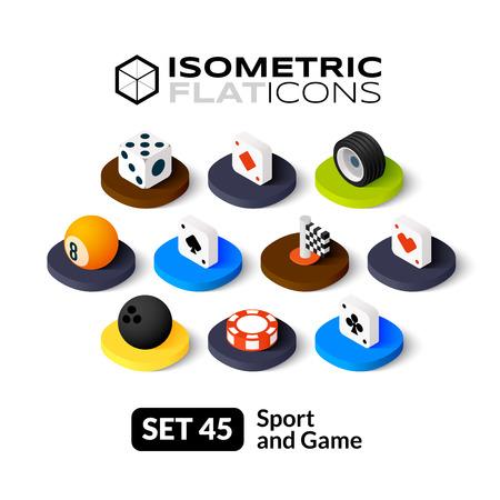 Iconos planos isométricos, pictogramas 3D conjunto de vectores 45 - Deporte y símbolo juego colección