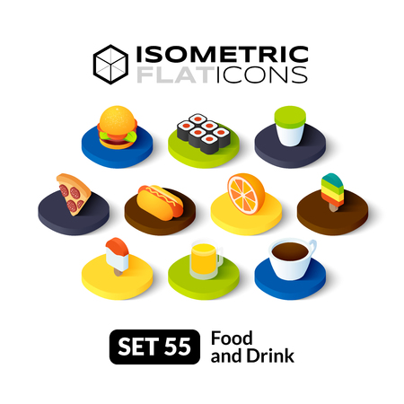 Isometric flat icons, 3D pictograms vector set 55 - Food and drink symbol collection Vettoriali