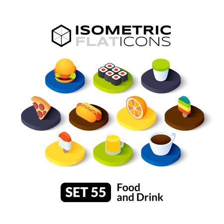 Isometrisch vlakke pictogrammen, 3D-pictogrammen vector set 55 - Eten en drinken symbool collectie Stock Illustratie