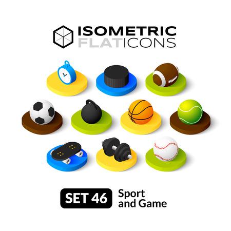 balones deportivos: Iconos planos isométricos, pictogramas 3D conjunto de vectores 46 - Deporte y símbolo juego colección