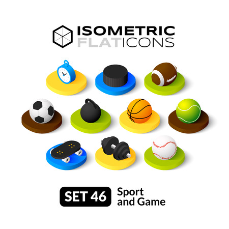 Isometric flat icons, 3D pictograms vector set 46 - Sport and game symbol collection