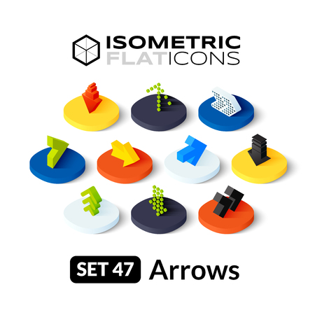 button set: Isometric flat icons, 3D pictograms vector set 47 - Arrows symbol collection