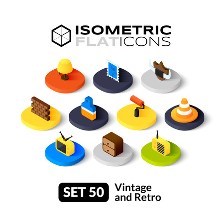 Isometric flat icons, 3D pictograms vector set 50 - Vintage and retro symbol collection Çizim