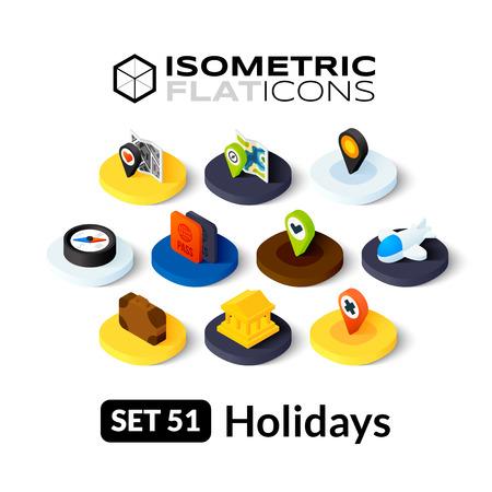 Isometrisch vlakke pictogrammen, 3D-pictogrammen vector set 51 - Vakantie symbool collectie Stock Illustratie