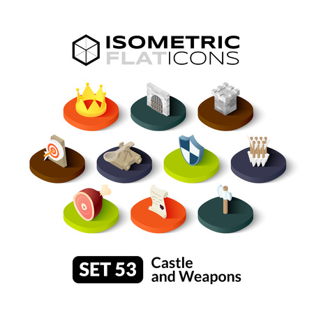 Isometric flat icons, 3D pictograms vector set 53 - Castle and weapons symbol collection Ilustração