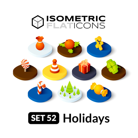 Isometric flat icons, 3D pictograms vector set 52 - Holidays symbol collection