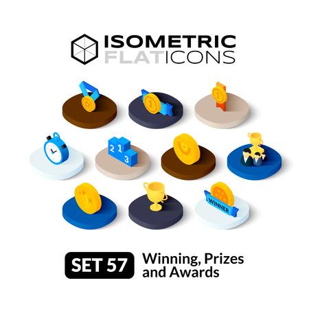 reconocimientos: iconos planos isométricos, pictogramas 3D conjunto de vectores 57 - Ganar, Premios y reconocimientos colección de símbolos Vectores