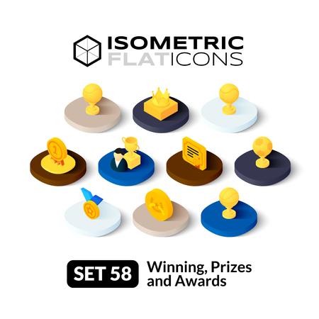 premios: Iconos planos isométricos, pictogramas 3D conjunto de vectores 58 - Ganar, Premios y reconocimientos colección de símbolos
