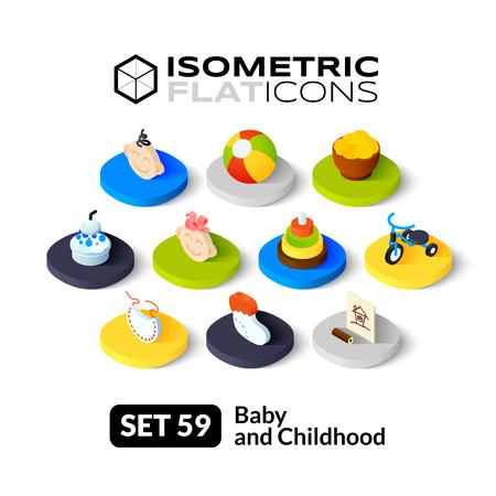 human pyramid: Iconos planos isométricos, pictogramas 3D conjunto de vectores 59 - Colección del bebé y el símbolo de la infancia