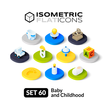 sonaja: Iconos planos isométricos, pictogramas 3D conjunto de vectores 60 - Colección del bebé y el símbolo de la infancia