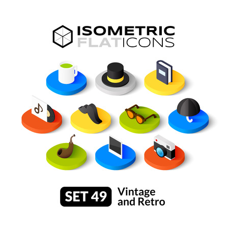 Isometric flat icons, 3D pictograms vector set 49 - Vintage and retro symbol collection