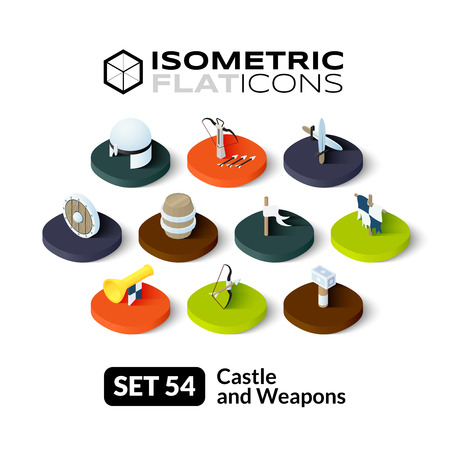 warhammer: Isometric flat icons, 3D pictograms vector set 54 - Castle and weapons symbol collection