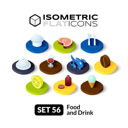 Isometrisch vlakke pictogrammen, 3D-pictogrammen vector set 56 - Eten en drinken symbool collectie