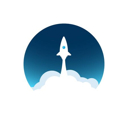 d�coller: White rocket with cloud and blue sky, circle icon in flat style, conceptual of start up new business project, take off of a business or project or extraterrestrial travel vector illustration Illustration