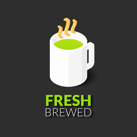 broth: Hot drink in white cup icon, vector illustration